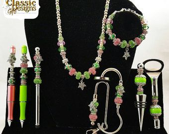 Salmon Pink and Apple Green Beaded Set with Ivy Charms: Pen Set, Jewelry Set, Purse Jewelry Set, Bar Set-Sorority Greek Paraphernalia Gifts