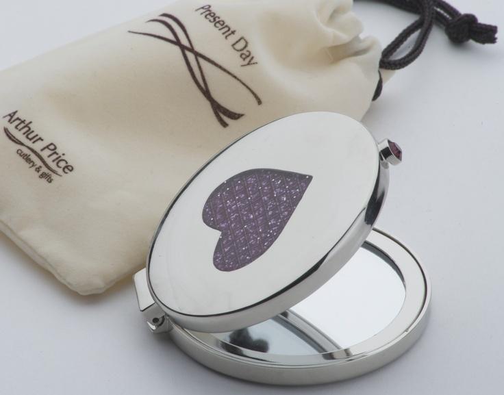 pink heart diamante compact mirror