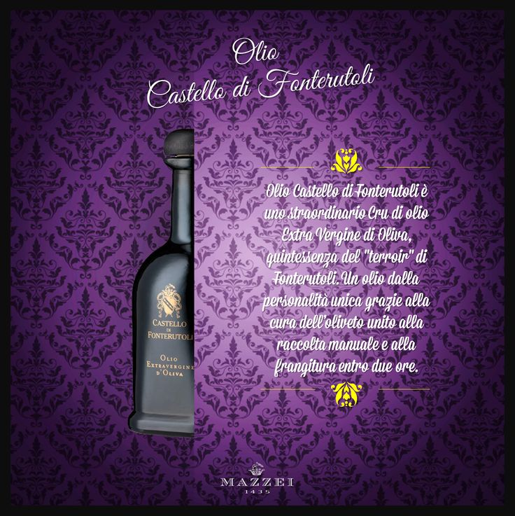 """OLIO CASTELLO di FONTERUTOLI - Castello di Fonterutoli Oil is an extraordinary Extra Virgin Olive Oil Cru. Thanks to the combination of olive grove care, manual harvesting and oil extraction within two hours it is the quintessence of the Fonterutoli """"terroir"""". @marchesimazzei #winegallery #marchesimazzei #fonterutoli #wine #tuscany #winelovers"""