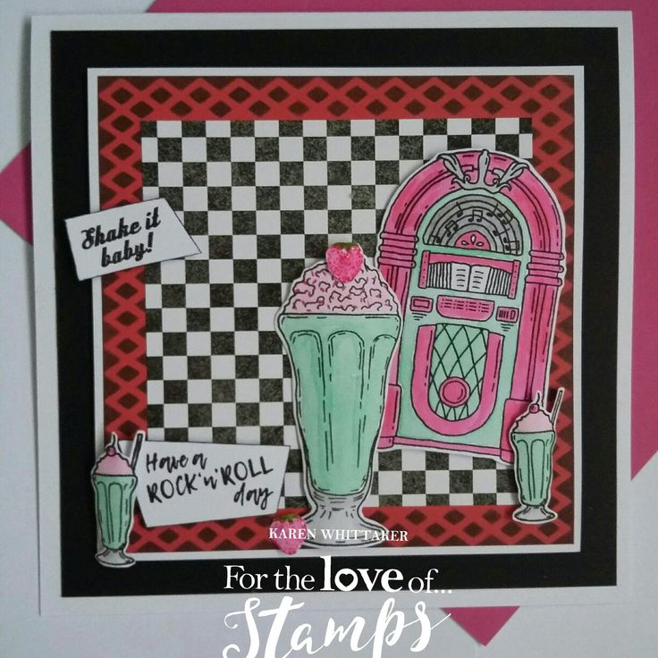 For The Love of Stamps Rock n Roll Jukebox and Shake It Baby stamp set.  #fortheloveofstamps #hunkydorycrafts #rocknroll #jukebox #milkshake #dtsample #stamping #stamps #kuretake #cardmaking #retro #handmade