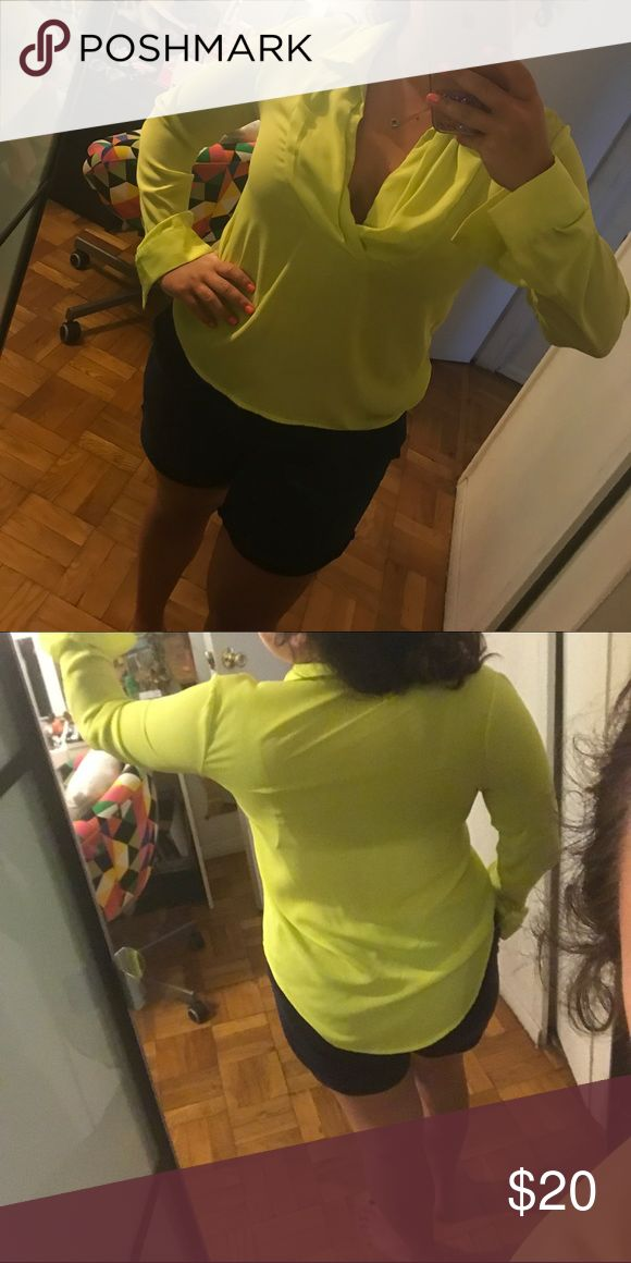 Bright Neon Yellow Top Size M Worn once ! Great condition !! Tobi Tops Blouses