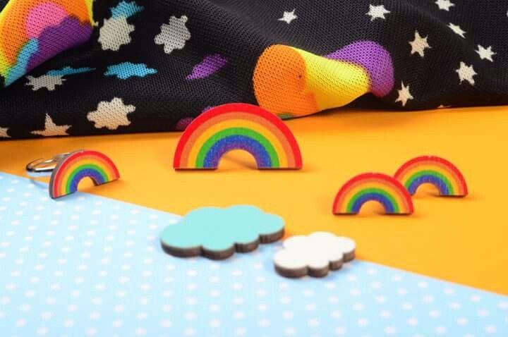 Mintapalinta POP Rainbow earrings & rings | mintapalinta.etsy.com