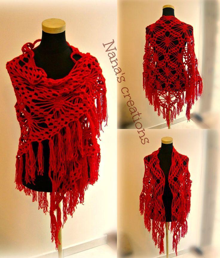 Red handmade crochet swal