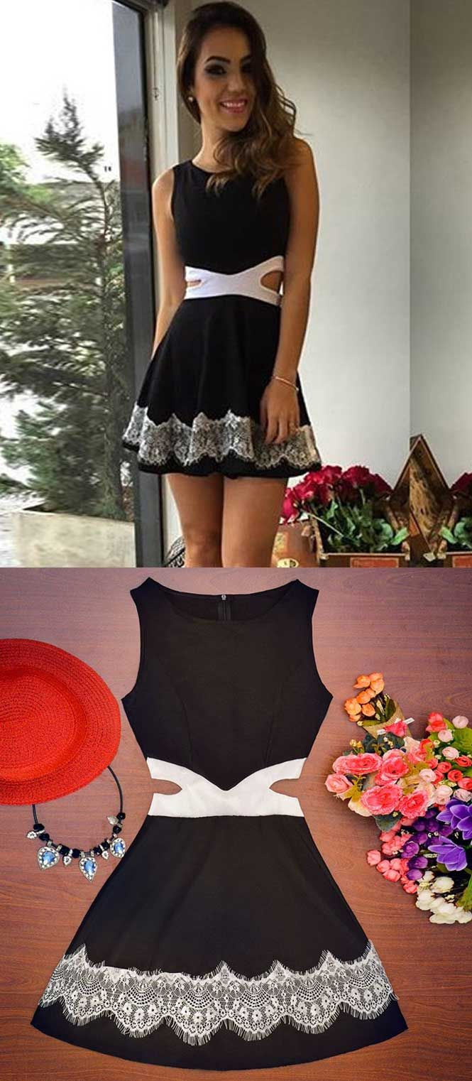 open back homecoming dress,mini homecoming dresses,black casual dress ,little black dresses,short black satin homecoming dress with lace,short black prom dress under 100,simple homecoming dresses short,cheap homecoming dresses