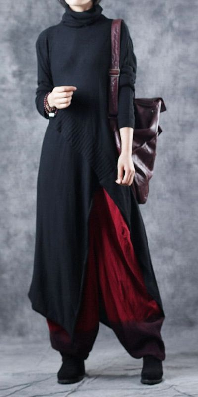 Casual High Neck Irregular Long Knitwear Women Base Blouse W2881