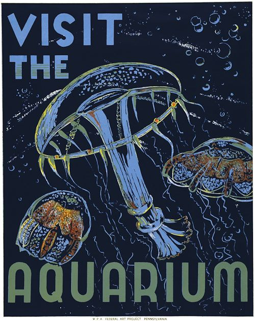 Created by the Pennsylvania WPA Federal Art Project, this poster promotes aquariums as destinations. The image was illustrated by Philadelphia artist Hugh Stevenson, circa 1937 via Vintagraph.