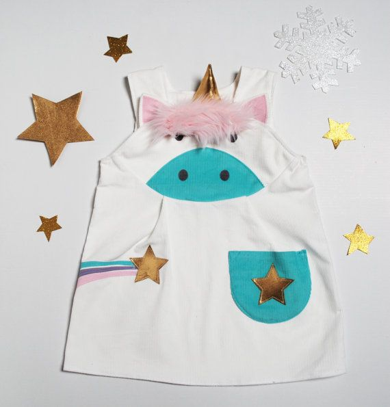 Unicorn costume play dress up pinafore by by wildthingsdresses