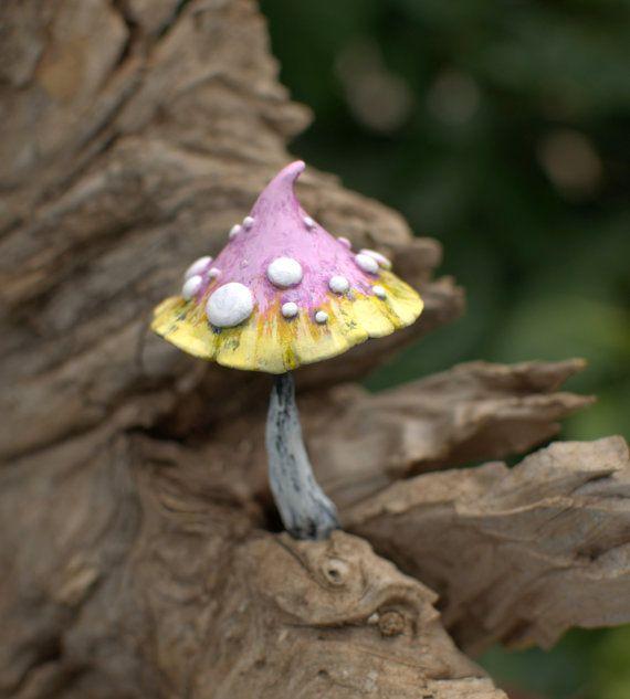 Pink light yellow fairy garden fantasy mushroom ,polymer clay toadstool Home decor,Fairy Garden