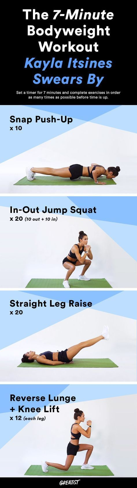 The BBG queen shares her 4 favorite moves. #greatist http://greatist.com/fitness/free-kayla-itsines-workout-7-minute-workout