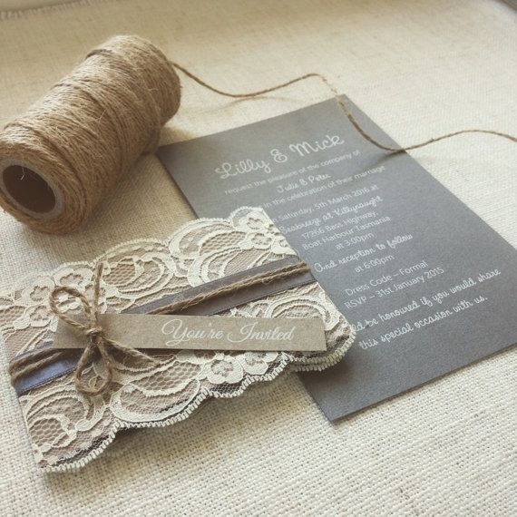 Wedding invitation Rustic Lace wedding invitation sample Kraft & Charcoal Grey wedding invitations