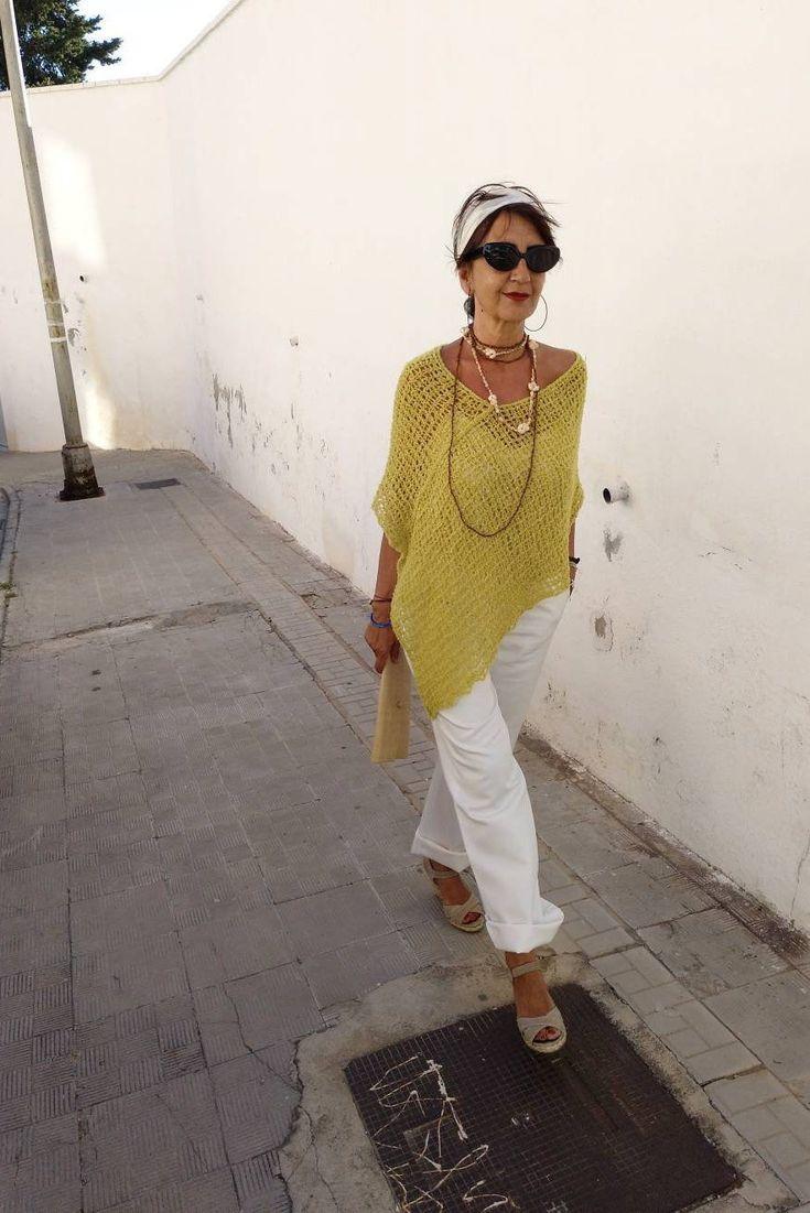 Poncho das mulheres, poncho amarelo para as mulheres, poncho leve, wraps e xales, amarelo tendências, malha poncho para mulheres
