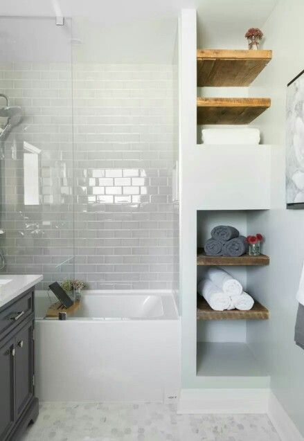 Carriage lane design bathroom subway tile white gray natural wood