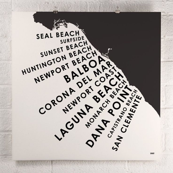 Orange County comprises 40 miles of some of the finest coastline in Southern California. This screen printed map highlights her iconic seaside communities from Seal Beach to San Clemente. Inks screen