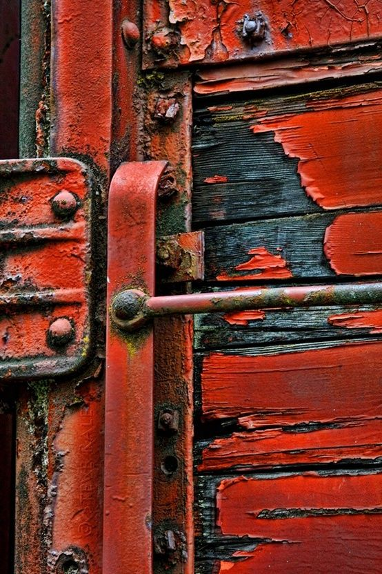 Red paint rustic image.  Red is one of the colors Molly wants to use.  A series of photographs like this one would be a great way to introduce color without having to paint entire walls.  The image itself brings the rustic South West feel wherever it is hung.