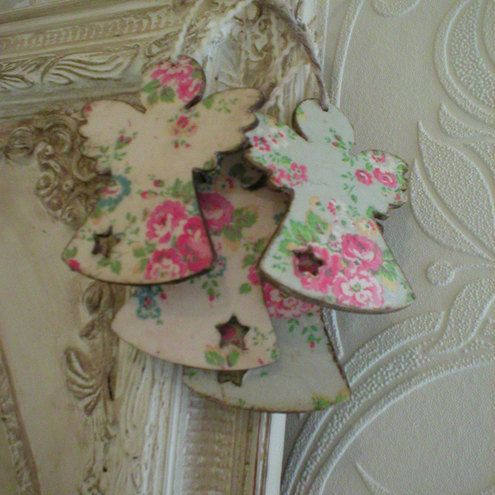 Ten Very Shabby Chic, Distressed Rustic Wooden Christmas Decorations Angels Decoupaged with Cath Kidston £14.50