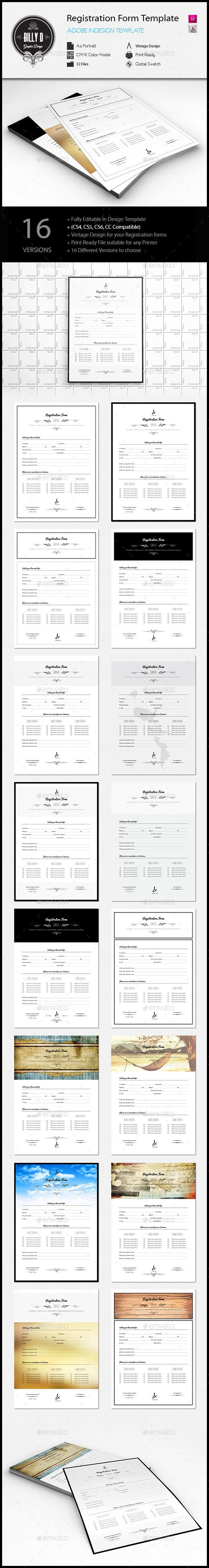 Registration Form Template (CS4, 21x29.7, a4, form, form template, indesign, registration form, vintage)