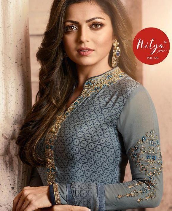 7e71a7de81 lt nitya 129 crape designer salwar suits catalog wholesaler in surat -  Krishna Creation