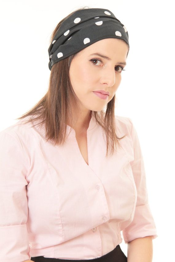 Winter sale - Black headband - Bandanna headband - Headband with white dots - Cotton bandanna