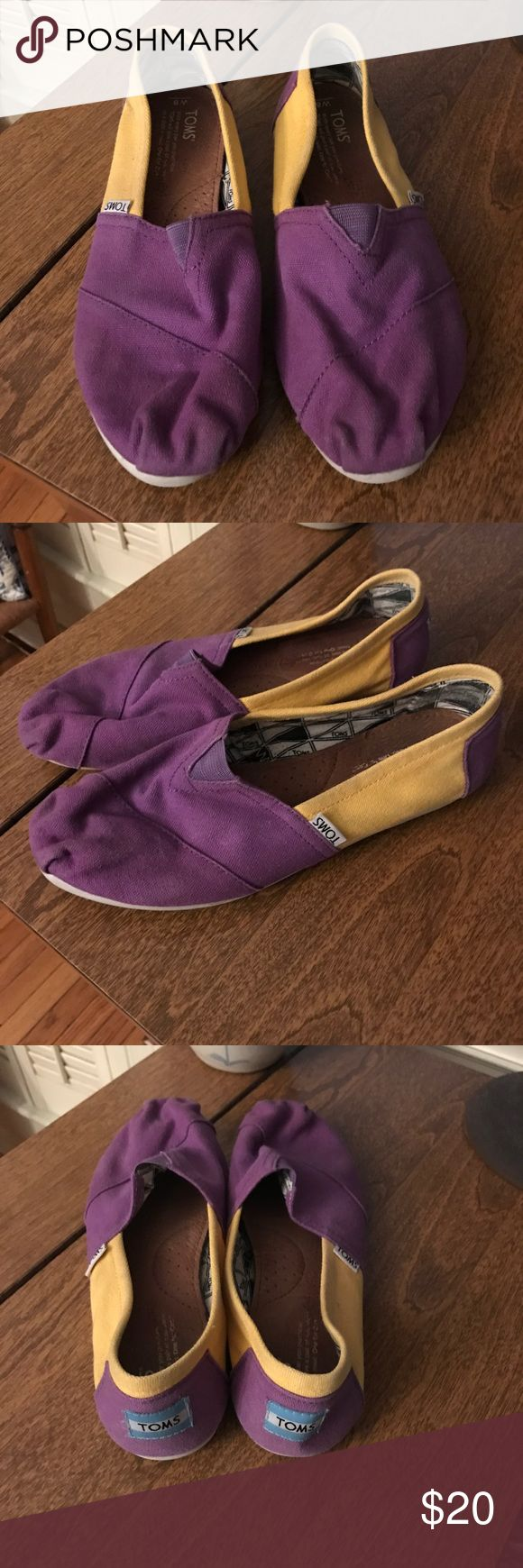 Purple and Gold LSU Toms Size 8 Gently worn (1-2 times!) purple and gold LSU Toms. Get ready for back to school at Louisiana State University with these Toms. Size 8. Comes from a smoke and pet free home. Toms Shoes Sneakers
