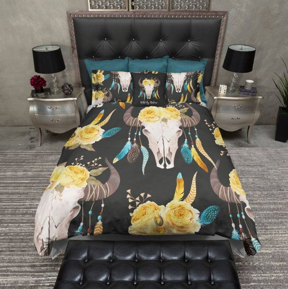 Lightweight Skull Bedding Wild by Nature Buffalo by InkandRags