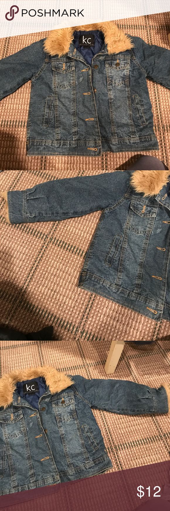 Kids size medium denim jacket with fur hood Kids size medium denim jacket with fur hood. Very good condition. Only worn once Jackets & Coats Jean Jackets