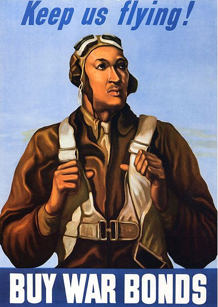 """Illustration: WWII war bonds poster featuring a Tuskegee Airman, 1943. Source: Wikimedia Commons. Read more on the GenealogyBank blog: """"African American Heroes: Tuskegee Airmen."""" https://blog.genealogybank.com/african-american-heroes-tuskegee-airmen.html"""