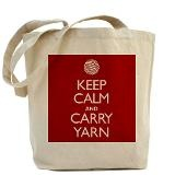 Red Keep Calm and Carry Yarn Tote Bag for $18.00
