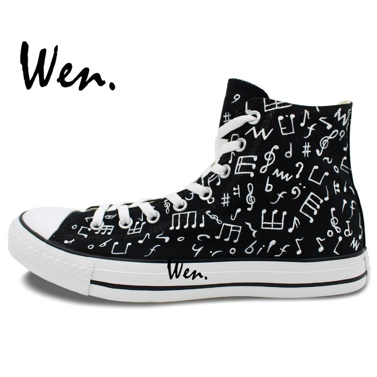 Wen Hot Original Design Custom Hand Painted Shoes Music Notes Black High  Top Canvas Sneakers Men