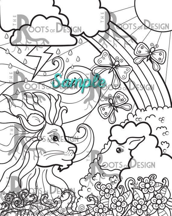 Instant Download Coloring Page Lion Lamb Coloring March Etsy Lion And Lamb Coloring Pages Sketch Book