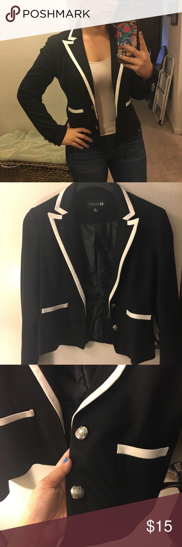 Soft black and white blazer Soft material.m blazer, NWOT. Forever 21 Jackets & Coats Blazers