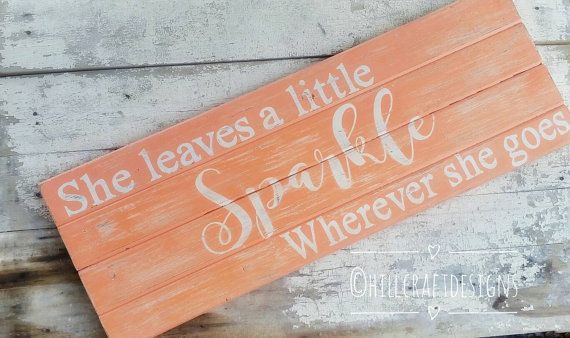 This sign measures 35in x 12.5 inches. Its painted a beautiful coral color, with the words in white. Its heavily distressed, sealed and comes ready to hang. Such a cute addition to a nursery or little girls bedroom We carefully select each piece of reclaimed wood we use for our signs... The grain, character and imperfections will vary; therefore, no two signs will be EXACTLY the same. (Imperfections include knots, dings, holes, uneven boards, nails, etc). Also the width of each board will…