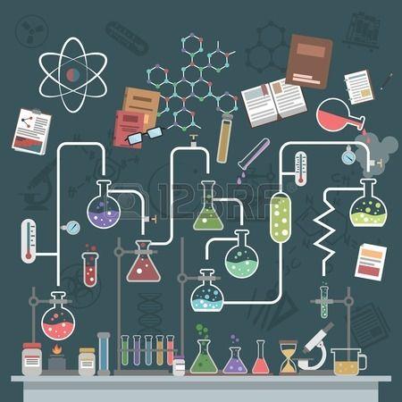 Concepto de ciencia de laboratorio con frascos planos y s mbolos f sica ilustraci n vectorial Foto de archivo