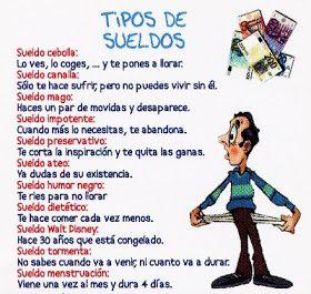 HUMOR CHISTE: TIPOS DE SUELDOS en http://frasesimagenescompartir.blogspot.com