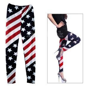 New Women Stars and Stripes USA Full Length Ladies American Flag Leggings Slim Fit