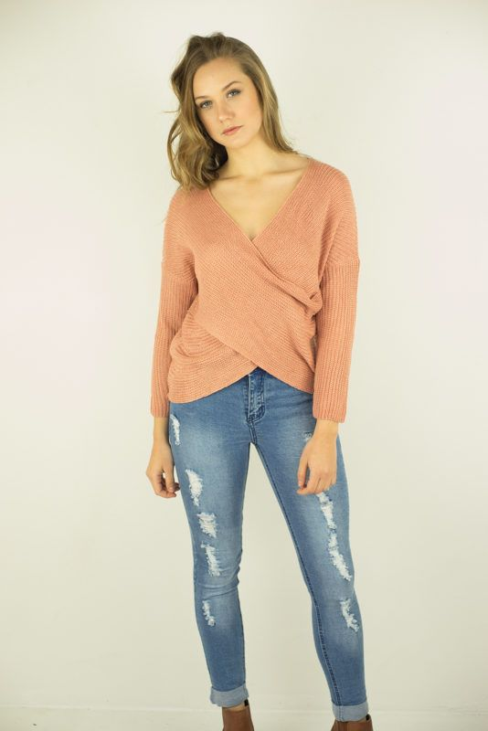 Maddie Cross Over Knit Pink