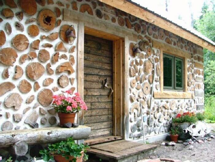 Cordwood sheds and cabins; sometimes known as Stackwall, Stovewood, Firewood or Cordwood Masonry.