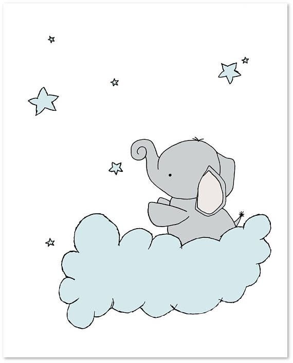 Elephant Nursery Art — Set of 3 Prints — Elephants Moon and Stars Art — Blue and Gray — Boy Nursery Art — Boys Room — Kids Wall Art