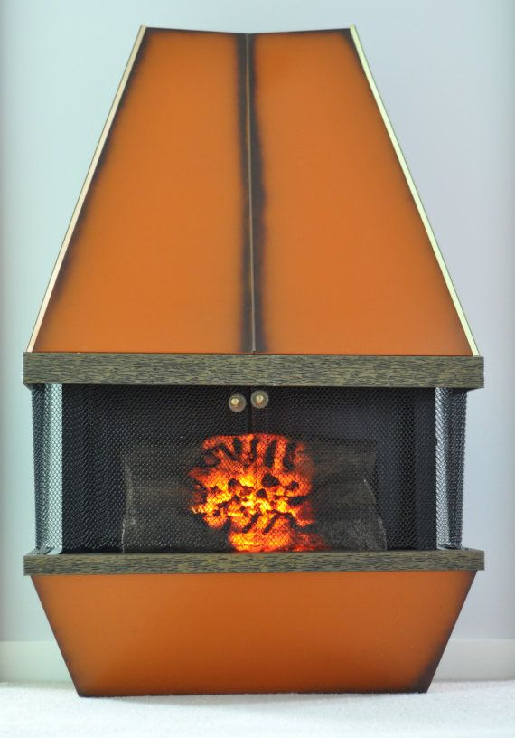 Mid Century Electric Fireplace Orange Retro 1970s Vintage Dyna Flame Heater Electric