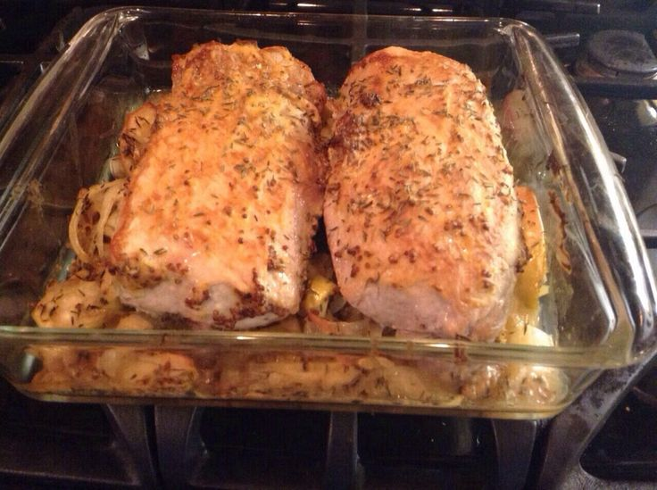 Pork tenderloin with apples, onions and Dijon. Found the recipe here ...