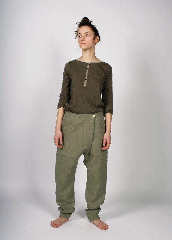 Hechos a mano ropa pantalones para mujeres por GreenOrangeViolet, $68.00