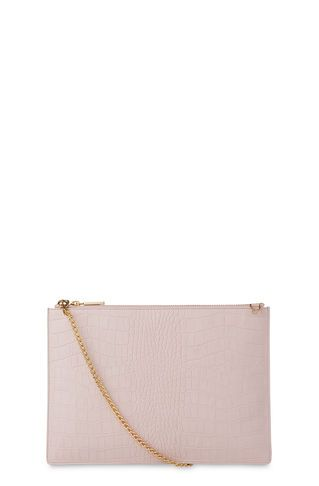 Matte Croc Rivington Clutch, in Pale Pink on Whistles