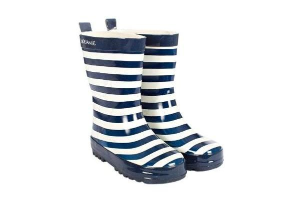 Skeanie   Navy Stripe   Boys Gumboots Get ready to make a splash in our fun navy and white striped gumboots for boys from Skeanie Australia!