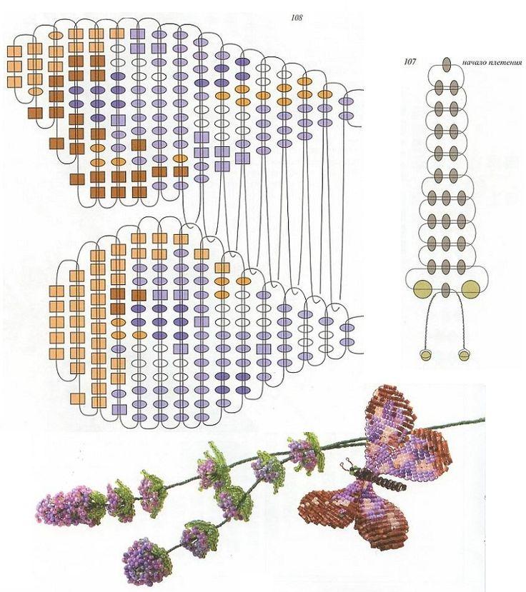 схема плетения пятнистой бабочки из бисера