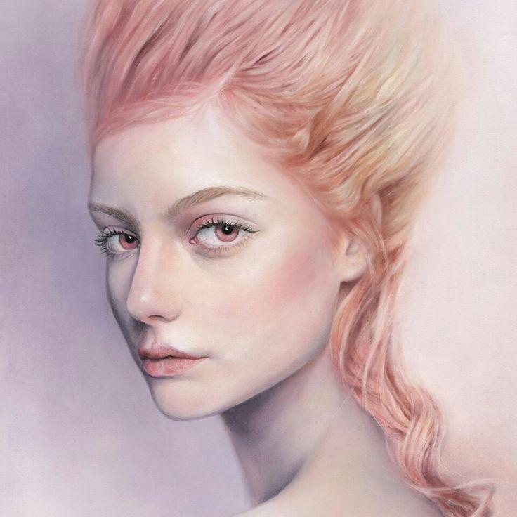 Bec Winnel #art #illustration #fantasy #drawing #woman #hair #prismacolor #colouredpencil #pencil #pink #portrait