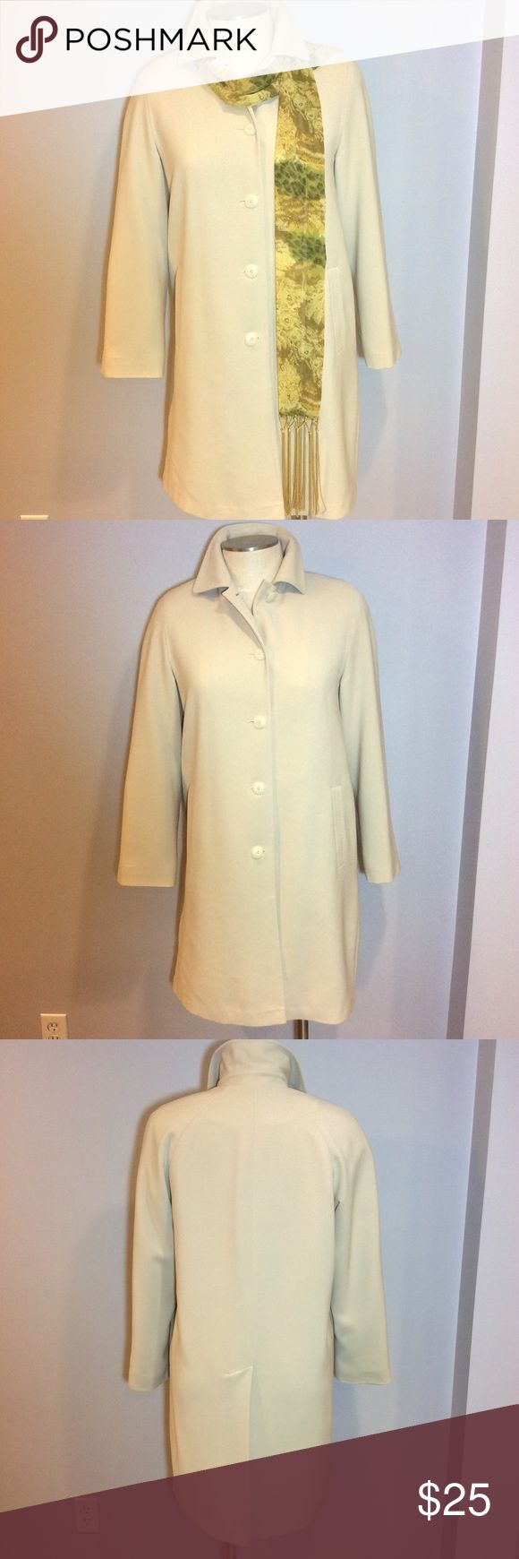 """Gallery Coat Gallery Coat in Cream. Medium weight fabric.  100% Polyester. Washable.  Perfect trench coat alternative.  The tag says Medium but fits more like size 14/Large. Measures 22"""" flat under arms; 38"""" long; sleeves 25"""" long. Coat is in good condition and shows minor signs of wear. See pics.  There are two small stains/spots that I see.  One stain you cannot see when Coat is buttoned.  The other spot is very small. See pics.  ** Scarf can be purchased separately. Gallery Jackets…"""