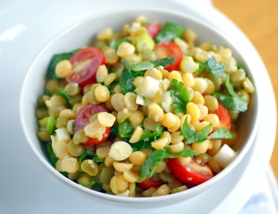 Green and Yellow Split Pea Salad with Mustard Dressing - skip oil