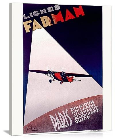 Farman Paris Airline Vintage Printed On Canvas
