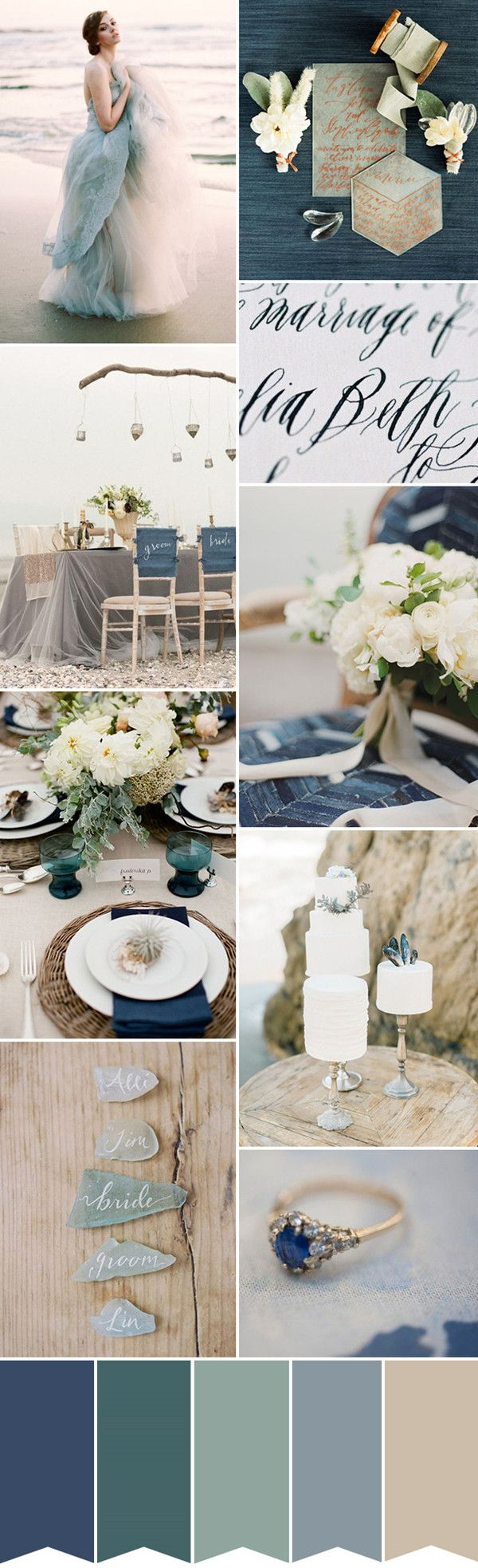 seaside blues and greens 2016 trending wedding color palette