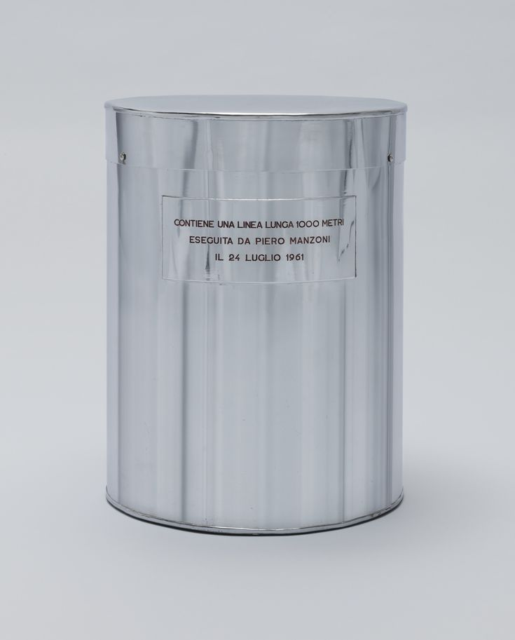 """piero manzoni, """"line 1000 meters long"""", july 24, 1961, chrome-plated metal drum containing a roll of paper with an ink line drawn along its 1000-meter length"""