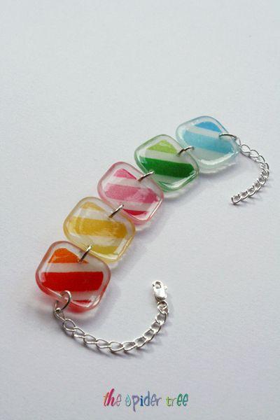 Rainbow Stripe Bracelet - Handmade Colorful Resin Pendant Bracelet £18.00